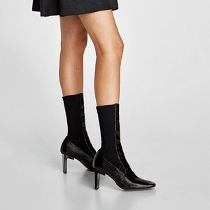 Zara women patent leather wrinkle boots 38/7.5